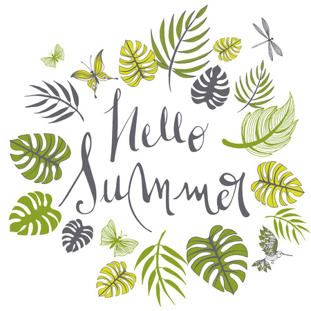 Sweet summer illustration doodles full vector background Illusztráció