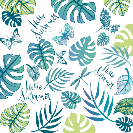 Sweet summer illustration doodles full vector background Ilustracja