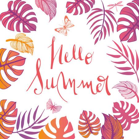 Sweet summer illustration doodles full vector background Stock Illustratie