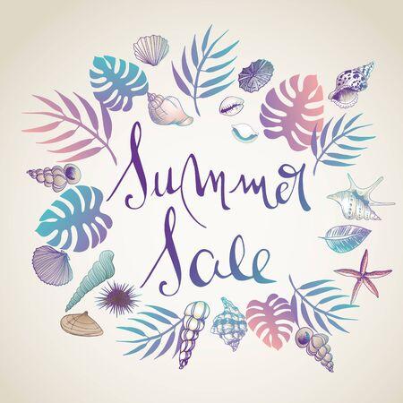 Summer sale illustrations doodles full vector background