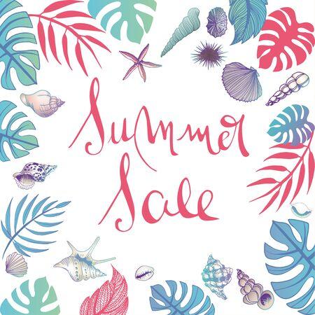 Summer sale illustrations doodles full vector background Stok Fotoğraf - 132093132