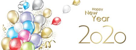 happy new year 2020 vector large banner Çizim