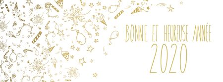 french happy new year 2020 vector large banner
