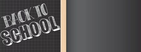 Vector school slate and doodles large banner