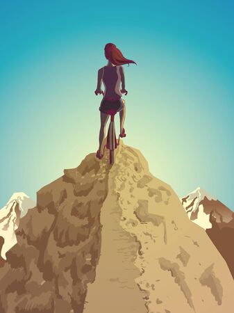Illustration of a biking girl on the top of a mountain
