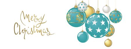Hanging vector christmas balls on a white background Çizim