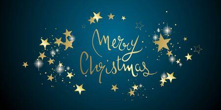 Christmas glitter stars abstract design full vector banner