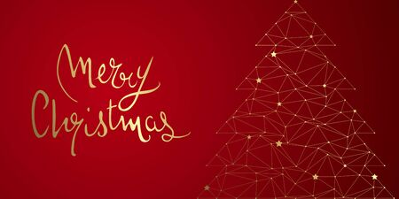 Christmas tree abstract design full vector banner