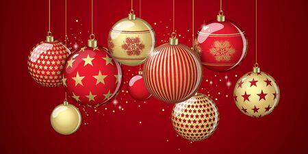 Christmas balls abstract design full vector banner Illustration