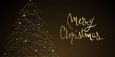 Christmas tree abstract design full vector banner