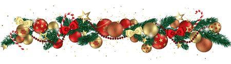 Christmas balls abstract design full vector banner Çizim