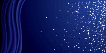 Glitter stars and curtain blue large banner background