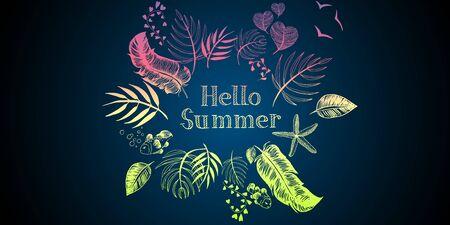 Summer tropical vegetal ornamental illustrations doodles