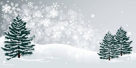 Winter snow and fir trees illustration background