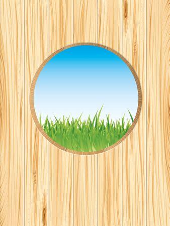 Spring nature background illustration with wood and grass Ilustração