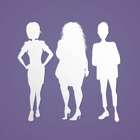 Three isolated women silhouette standing up illustration