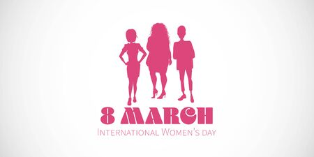 international womens day illustration three silhouettes banner