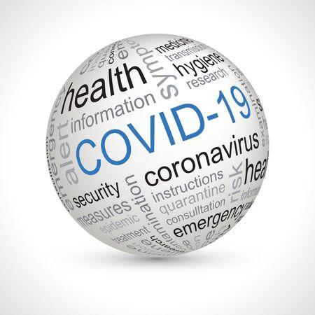 covid 19 coronavirus keywords theme sphere element Vector Illustratie