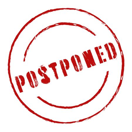 postponed red stamp isolated on a white background Illustration