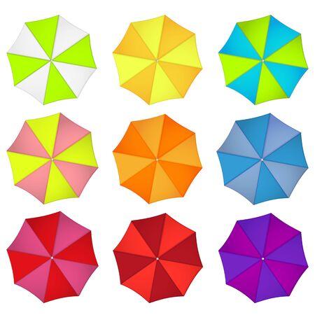 Beach umbrella rainbow colors set isolated on white background Vector Illustration