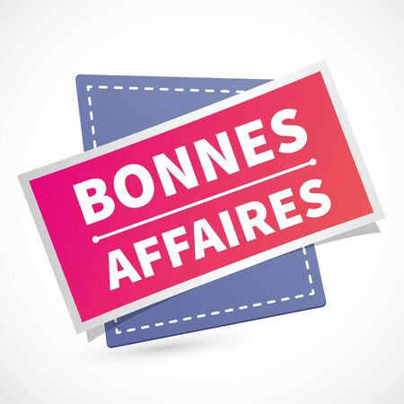 French good deal label illustration icon and paper style