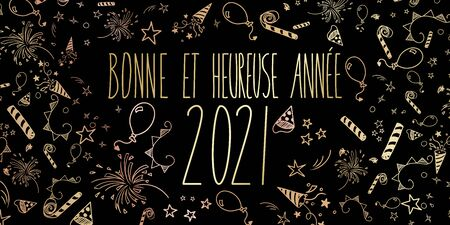French 2021 happy new year celebration illustration banner