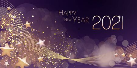 Happy New year 2021 large greeting card illustration Vettoriali
