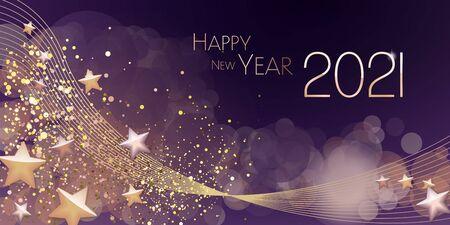 Happy New year 2021 large greeting card illustration Иллюстрация