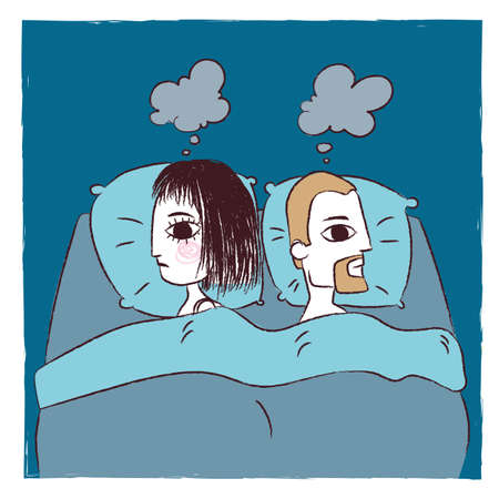 Illustration of a sad couple in bed Illustration