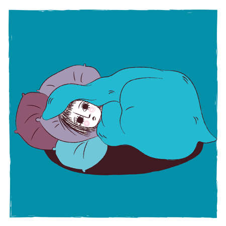 Illustration of a woman hiding in her bed