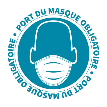 French face mask required sign covid 19 illustration