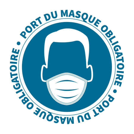French face mask required covid 19 illustration Vecteurs