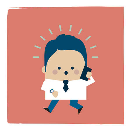 Illustration of a businessman hurry up