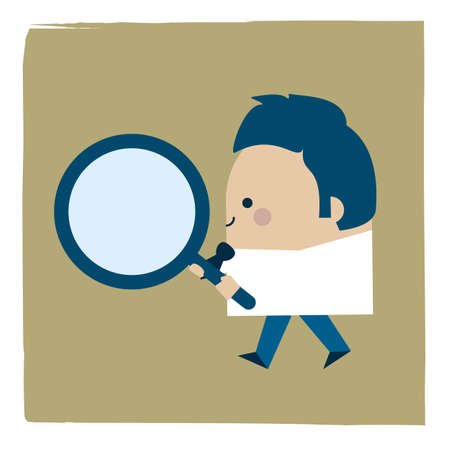 Illustration of businessman holding a magnifying glass