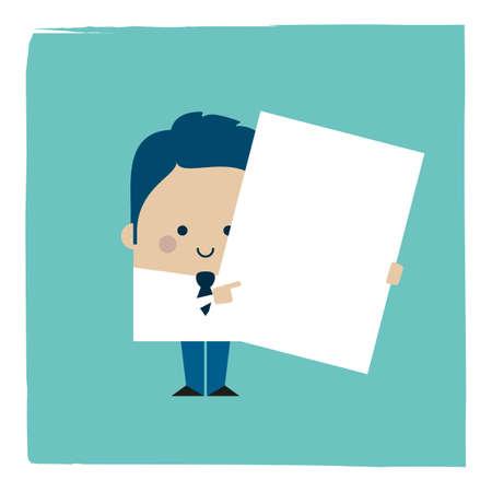 Illustration of businessman holding a paper sheet