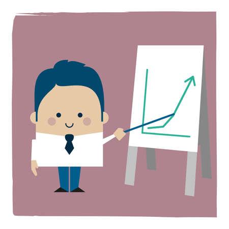 Illustration of a businessman showing an ascending graph