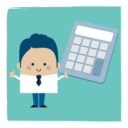 Illustration of a businessman holding a calculator