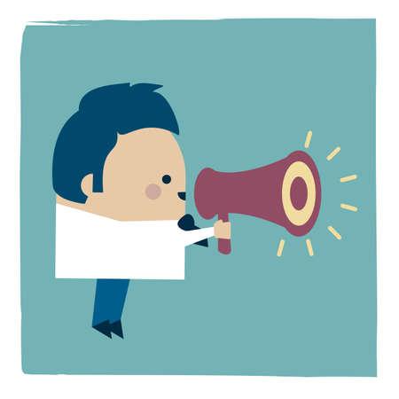 Illustration of businessman holding a megaphone