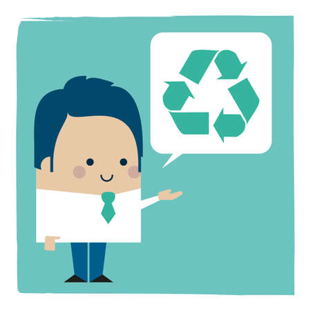 Illustration of a businessman talking about recycling