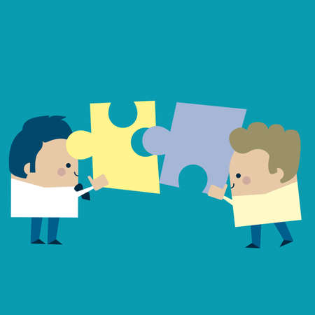 Illustration of two businessmen putting together a puzzle