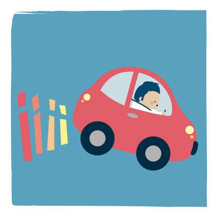 Illustration of a driver braking Banque d'images - 157834571