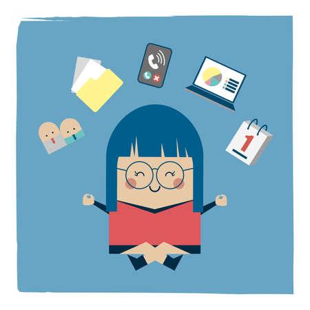 Illustration of zen attitude businesswoman Stock Illustratie