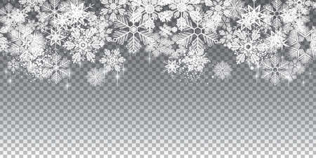 Transparent winter snowflakes background full vector with layers