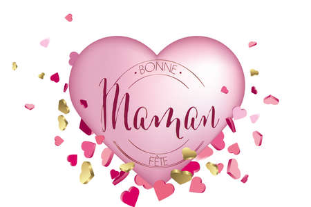 french mothers day hearts illustration
