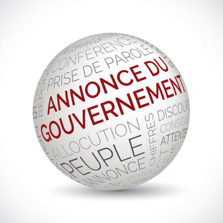 French government address theme sphere with keywords