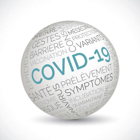 French covid 19 theme sphere with keywords