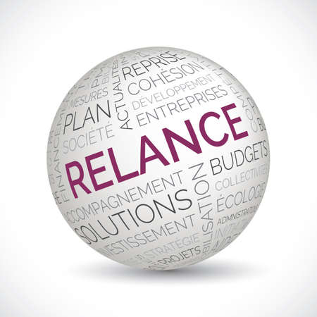 French economic recovery theme sphere with keywords