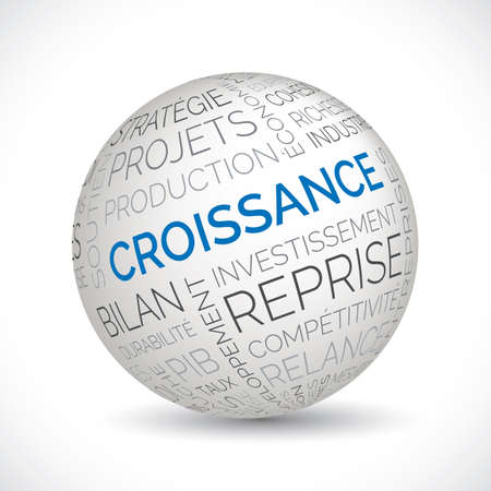 French economic growth theme sphere with keywords