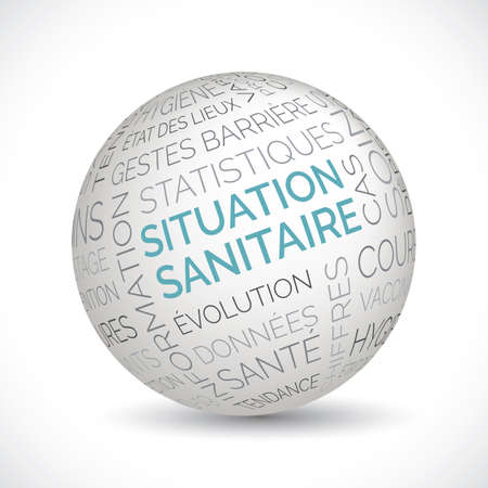 French health situation theme sphere with keywords Illustration