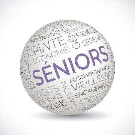 French seniors theme sphere with keywords Illustration